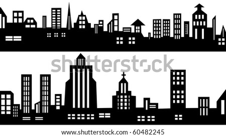 2 vector city silhouettes - stock vector