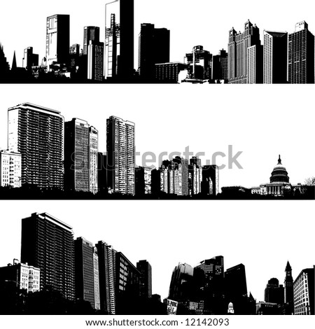 3 vector city skylines - stock vector