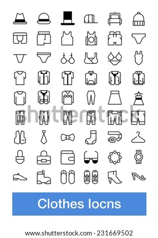 Vector clothes icons, Pixelperfect line icons set - stock vector