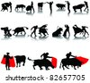 vector collection of matador and bull, silhouettes and shadows - stock vector