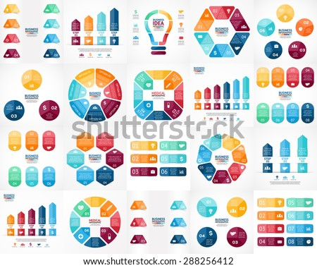 20 vector color infographics. Templates set for cycle diagram, graph, presentation and round chart. Business startup concept with 3, 4, 5, 6, 7, 8 options, parts, steps, processes. Arrows info graphic - stock vector