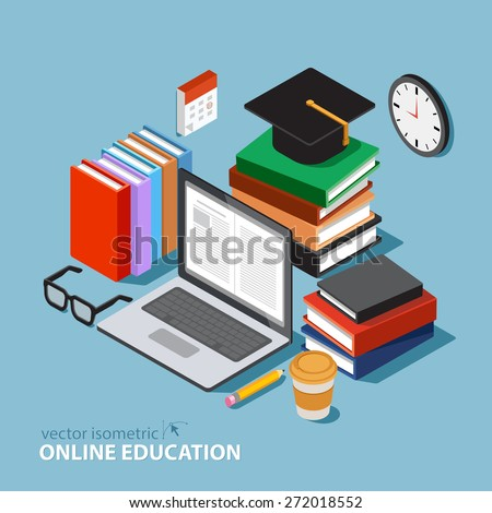 Vector concept for online education. Flat 3d isometric design. Online training courses,  retraining, specialization, tutorials. Can be used for web design, banners, promotional materials etc. - stock vector