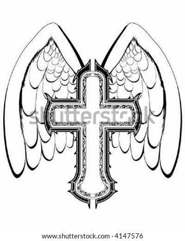 Vector Cross with Wings - stock vector