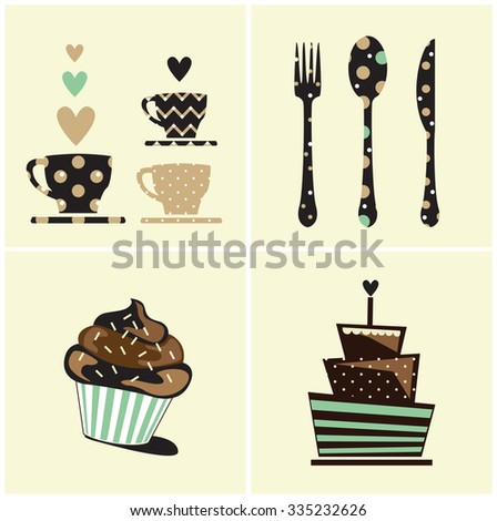 vector cute cupcake,cake,coffee,food card - stock vector