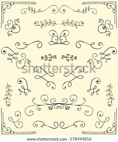 Vector decorative design corners elements - stock vector
