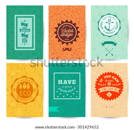 Vector decorative greeting card or invitation design. Set of patterns.  Quotation lettering, badge - stock vector