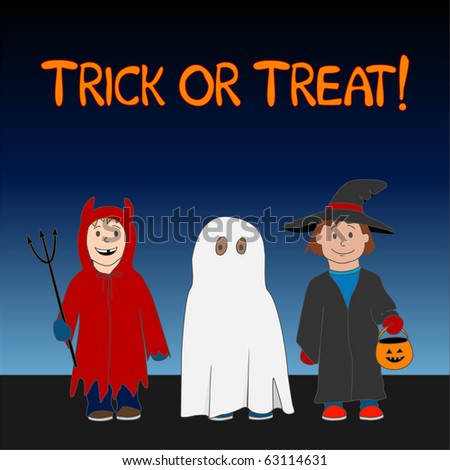 (Vector eps10) A cute Halloween 'Trick or Treat' illustration with three children dressed as a witch, ghost and little devil. - stock vector
