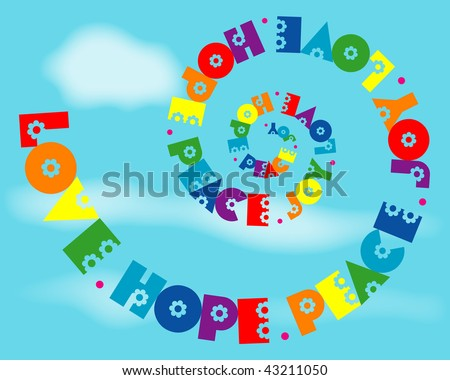 (Vector - eps10) A fun spiral design of 'Love, Hope, Peace, Joy' in rainbow colours. 