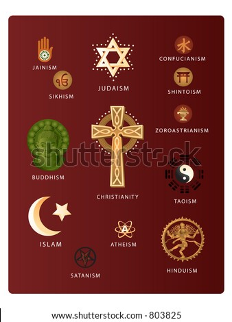 (Vector EPS file!!!) Symbols of various world religions including: Christianity, Judaism, Islam, Buddhism, Hinduism, Taoism, Jainism, Satanism, Atheism, Confucianism, Shintoism, and more... - stock vector