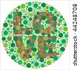 (Vector - eps10) Inspired by colour blind tests, the word LOVE is behind green dots, which may be hard to see if one is colour blind! (A jpg version is also available) - stock vector