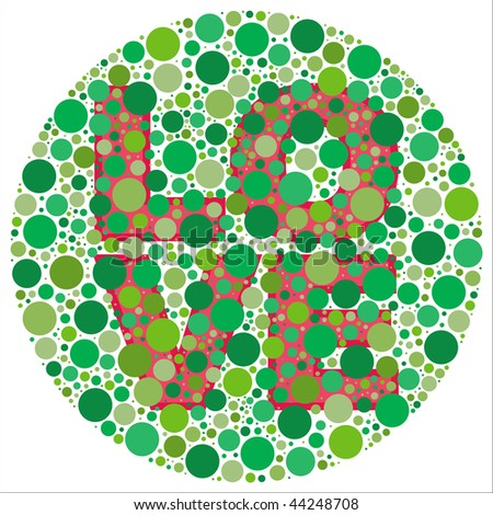 (Vector - eps10) Inspired by colour blind tests, the word LOVE is behind green dots, which may be hard to see if one is colour blind! (A jpg version is also available)