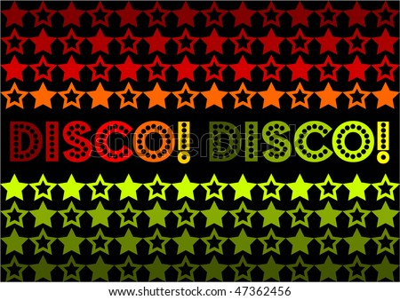 (Vector - eps10) 70s Retro design featuring stars and text 'Disco! Disco!' It also has the possibility of being used as a seamless tile.