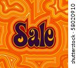 (Vector eps10) 60s retro Sale design with psychedelic orange offset swirls. (A jpg version is also available) - stock photo