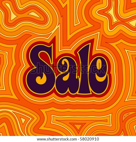 (Vector eps10) 60s retro Sale design with psychedelic orange offset swirls. (A jpg version is also available) - stock vector