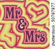 (Vector eps 10) 60's retro wedding design with offset swirls around the words 'Mr & Mrs'. (A jpg version is also available) - stock vector