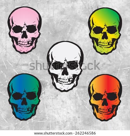 5 vector evil human skull for halloween - stock vector