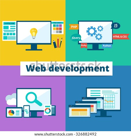 Vector flat set of concept web development elements. Stages of web development. Icons for web design, application development,web programming, seo, testing. - stock vector