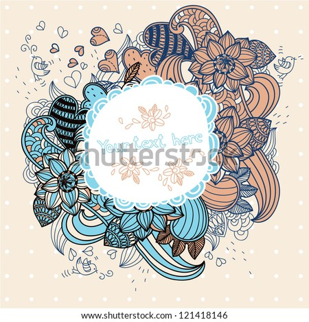 vector floral frame with flowers and hearts - stock vector