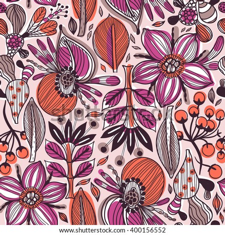 vector floral seamless pattern with abstract fantasy blooms