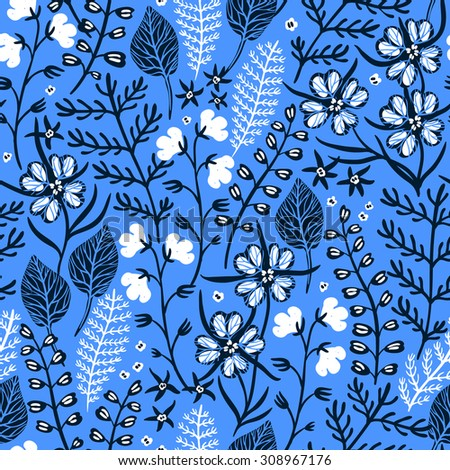 vector floral seamless pattern with abstract plants and flowers on a bright blue background - stock vector