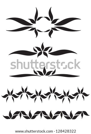 Vector flowers patterns on a black background - stock vector