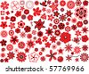 100 vector flowers ? red-and-black design elements - stock photo