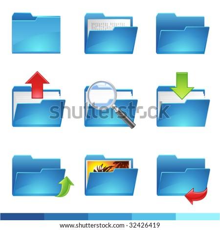 9 vector folder icons set1 - stock vector
