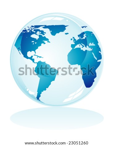 VECTOR Glossy delicate blue earth icon to use like background