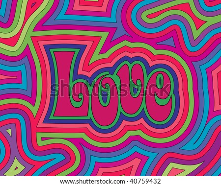 (Vector) Groovy psychedelic Love. A Jpg version is also available. - stock vector
