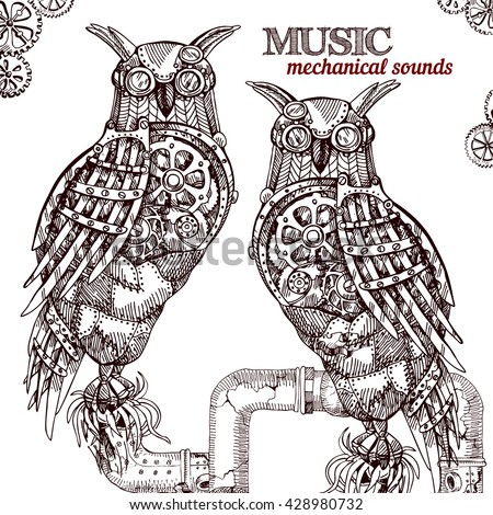 Vector hand drawn mechanical owl. Mechanical sketch animal. Steampunk style owl. - stock vector