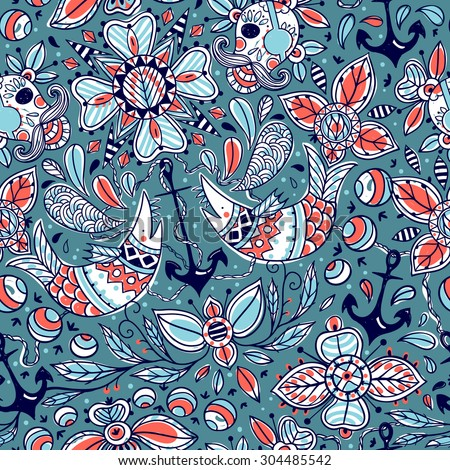 vector hand drawn seamless pattern with colored nautical elements - stock vector