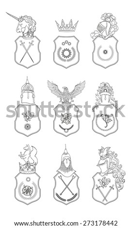 Vector Heraldry Emblem Collection Coat Arms Stock Vector