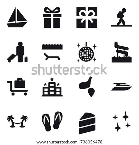 16 vector icon set   boat gift tourist passenger lounger disco 16 vector icon set boat gift stock vector 736056478   shutterstock  rh   shutterstock