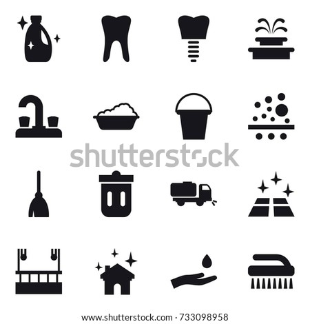 16 Vector Icon Set Cleanser Fountain Water Tap Washing Bucket
