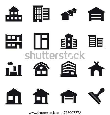 16 Vector Icon Set Cottage Houses Garage Modular House Window