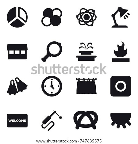 16 vector icon set diagram atom stock vector 747635575 shutterstock 16 vector icon set diagram atom core atom table lamp market ccuart Choice Image