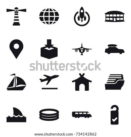 16 vector icon set : lighthouse, globe, rocket, airport building, plane, car baggage, sail boat, departure, bungalow, cruise ship, shark flipper, inflatable pool, please clean