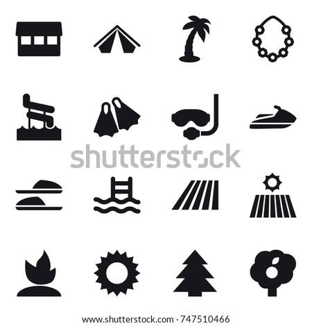 Desert Line Icons Mono Vector Symbols Stock Vector