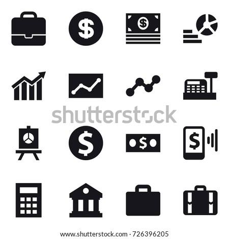 16 vector icon set portfolio dollar stock vector 726396205 16 vector icon set portfolio dollar money diagram statistic graph ccuart Choice Image