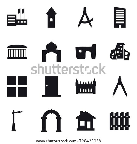 16 Vector Icon Set Store Tower Draw Compass Skyscraper Airport Building