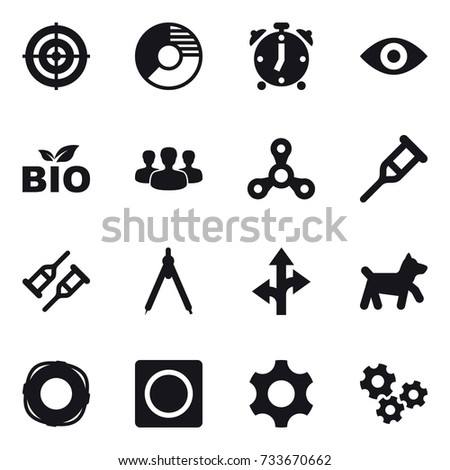 16 Vector Icon Set Target Circle Diagram Alarm Clock Eye Bio