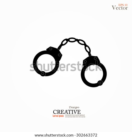 Vector icons of handcuffs.handcuff.crime law concept.handcuff with criminal law word.vector illustration. - stock vector