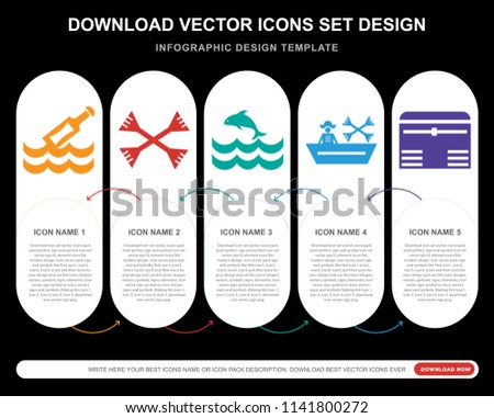 5 vector icons such message bottle stock vector 1141800272
