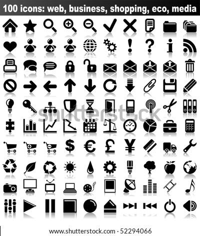 100 vector icons: web, business, finance, shopping, eco, media. - stock vector