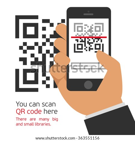 Vector illustration capture QR code on mobile phone. Digital technology, information barcode, symbol electronic scan.  - stock vector