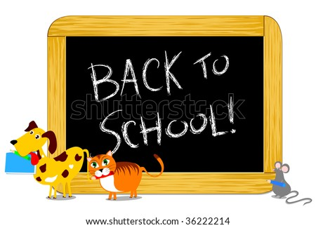 """Vector illustration depicting some funny animals while parading towards the school bringing with her pencils and books. In the background a blackboard and the words """"Back to school!"""" - stock vector"""