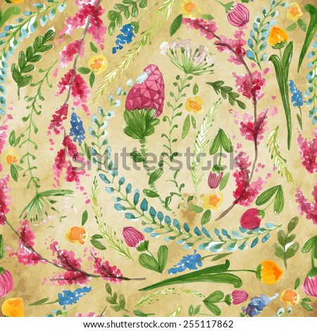 Vector illustration for textile and different occasions. Cute summer and spring background. Floral pattern with watercolor flowers on the vintage background. Isolated pink herbs - stock vector