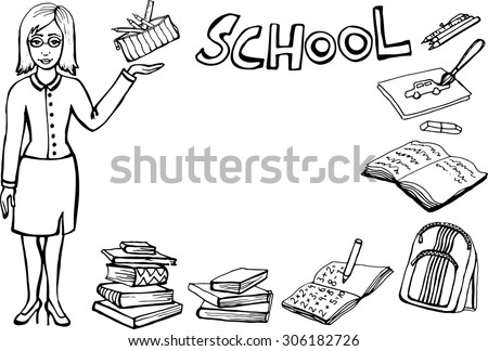 Vector illustration.Hand-Drawn  doodles, Back to School ! - stock vector