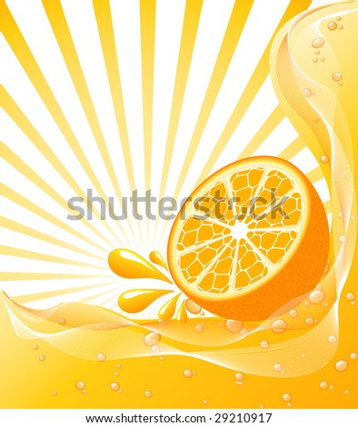vector illustration of a beautiful Orange background with a sun.  - stock vector