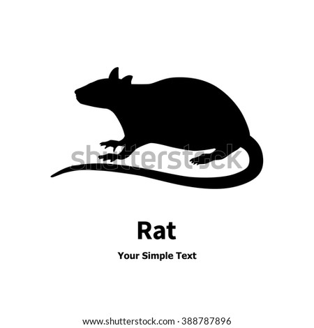 Vector illustration of a silhouette of the rat. The carrier of the disease. Isolated on white background. - stock vector